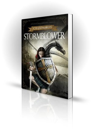 Stormblower - CR Leonard - Girl with sword and shield fighting dragon