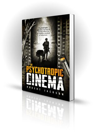 Psychotropic Cinema - Robert Jackson - War scene on film with syringe next to it