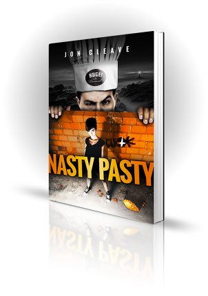 Nasty Pasty - Jon Cleave - Woman in front of brick wall with chef looming over