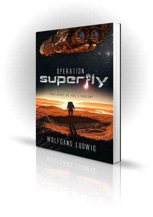 Operation Superfly - Wolfgang Ludwig - Man in spacesuit of a planet with a spaceship overhead