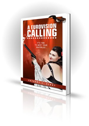 A Eurovision Calling - Anthony J. Berry - Large woman holding a massive smoking gun