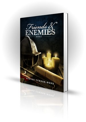 Friends And Enemies - Steven Turner-Bone - Helmet, scroll and saw on candlelit table