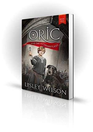 Oric and the Alchemist's Key - Lesley Wilson - Child holding a key with Irish Wolfhound
