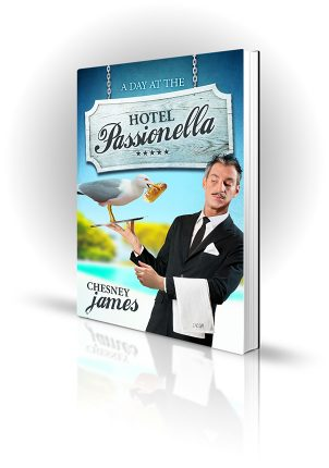 Hotel Passionella - Chesney James - Waiter holding a tray with a seagull stealing bread