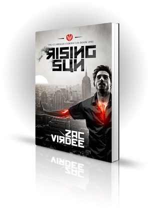 Rising Sun - Zac Virdee - Man with glowing runs on his skin over New York