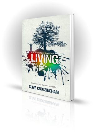 The Wizards Of Positive Living - Clive Crossingham - Bright colours, a tree and a celebrating man
