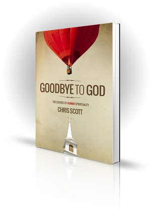 Goodbye To God - Chris Scott - Red hot air balloon flying over a church