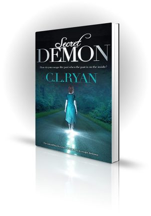 Secret Demon - C.L. Ryan - Woman walking down a road with forest either side at night, the ground lights up under her feet.