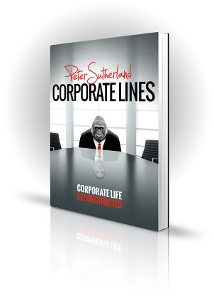 Corporate Lines - Peter Sutherland - A gorilla in a suit in a boardroom with the reflection of a man.