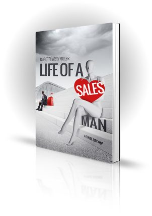 Life Of A Salesman - Rupert Harry Miller - Mannequin sitting on steps with down-on-luck salesman looking at a suitcase