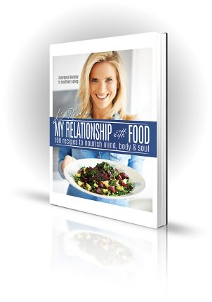 My Relationship With Food - Lisa Roukin - Cookbook with blonde woman offering a plate