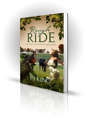 Rough Ride - PJ King - Woman frolicking in a field with horses as gloved man watches.