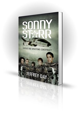 Sonny Starr - Jeffrey Day - A group of children astronauts stand in front of a space ship with robots