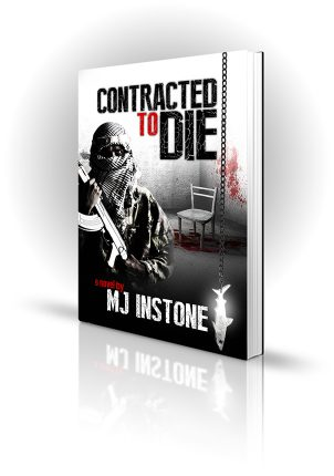 Contracted To Die - MJ Instone - Jihadist in a room with a bloody chair and a shark chain