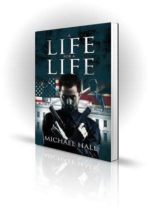 A Life For A Life - Michael Hall - Man with crossed guns in front of the white house with politicians in the background
