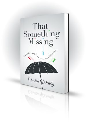That Something Missing - Caroline Westley -  Letters missing from the title as they drop onto an umbrella