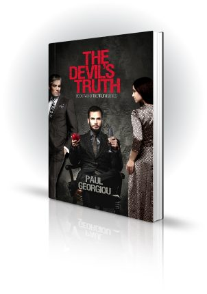 The Devils Truth - Paul Georgiou - Man sitting on chair holding an apple and wine, with another man and woman