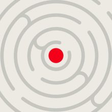 Successful Authors do it this way round - Circular Maze with a red dot in the middle