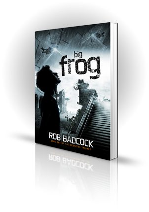 Big Frog - Rob Badcock - Boy looking up at spaceships with dissolving frog - Book Cover Portfolio