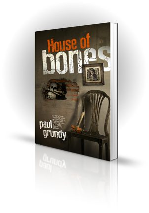 House Of Bones - Paul Grundy - Skulls in a broken wall with a sledgehammer - Book Cover Portfolio