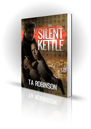 The Silent Kettle - Trevor Robinson - Two men with guns in a city at night - Book Cover Portfolio