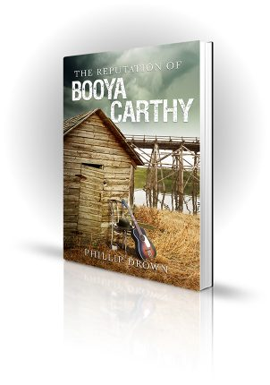 The Reputation of Booya Carthy - Phillip Drown - Guitar and hat on chair outside a hut near a bridge