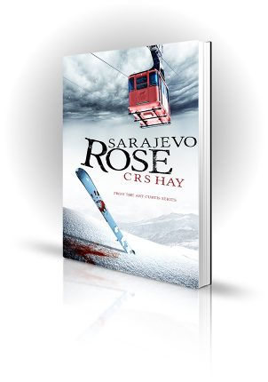 Sarajevo Rose - CRS Hay - Bloody ski in the snow underneath cable car - Book Cover Portfolio