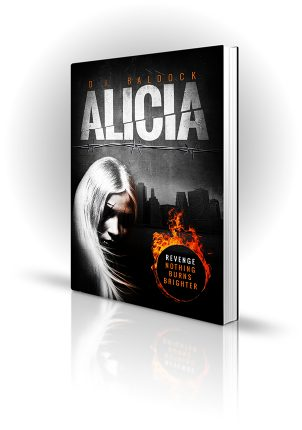 Alicia - DJ Baldock - White Haired Scarred Woman and ring on fire - Book Cover Portfolio