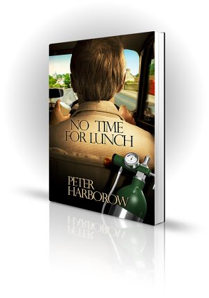 No Time For Lunch - Peter Harborow - Doctor in a car drinking coffee - Book Cover Portfolio
