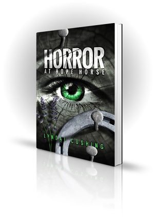 Horror At Hope Horse - Horseshoes and nails on a green-eyed face - Book Cover Portfolio