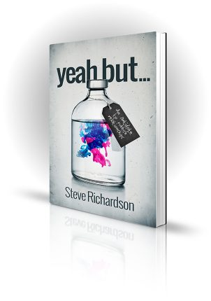 Yeah But - Steve Richardson - Swirling coloured liquids in a bottle - Book Cover Portfolio