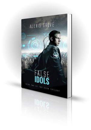 False Idols - Alexis Grove - Man with his head plugged in and a futuristic city in the background