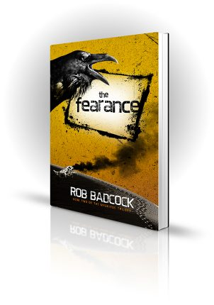 The Fearance - Rob Badcock - Crow and crashed spaceship in the desert - Book Cover Portfolio