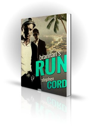 Brannans Run - Stephen Cord - Ship's captain with a gun in front of a tropical waterfront
