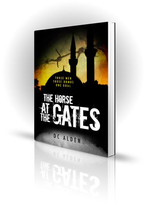 Horse At The Gates - DC Alden - Barbed wire in front of a dark temple - Book Cover Portfolio