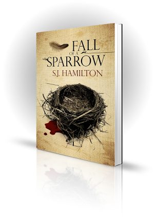 Fall Of A Sparrow - SJ Hamilton - Feather falling on a key in a bird's nest - Book Cover Portfolio