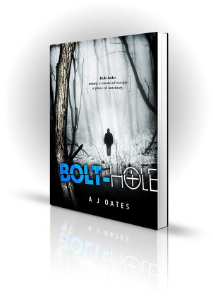 Bolt-Hole - AJ Oates - Man walking through trees in the snow - Book Cover Portfolio