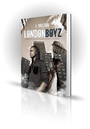 London Boyz - J Milton - Two gangsters outside london high rise flat blocks - Book Cover Portfolio