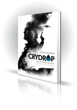 Crydrop - Lewis Young - Man with gun, smoke, freight ship - Book Cover Portfolio