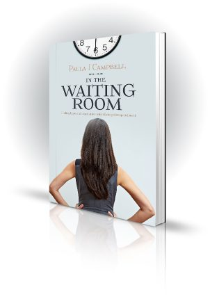 In The Waiting Room - Paula J Campbell - Woman Looking at a Clock - Book Cover Portfolio