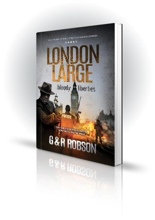 London Large - Bloody Liberties - G&R Robson - Shady man in front of explosions by Parliament