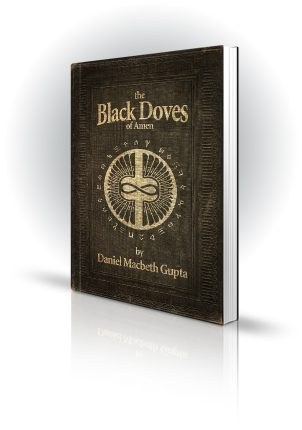 The Black Doves Of Amen - Daniel Macbeth Gupta - Old style bound book covered in runes