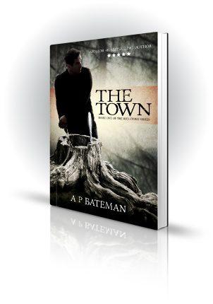 The Town - AP Bateman - Man standing next to tree stump with scalpel - Book Cover Portfolio