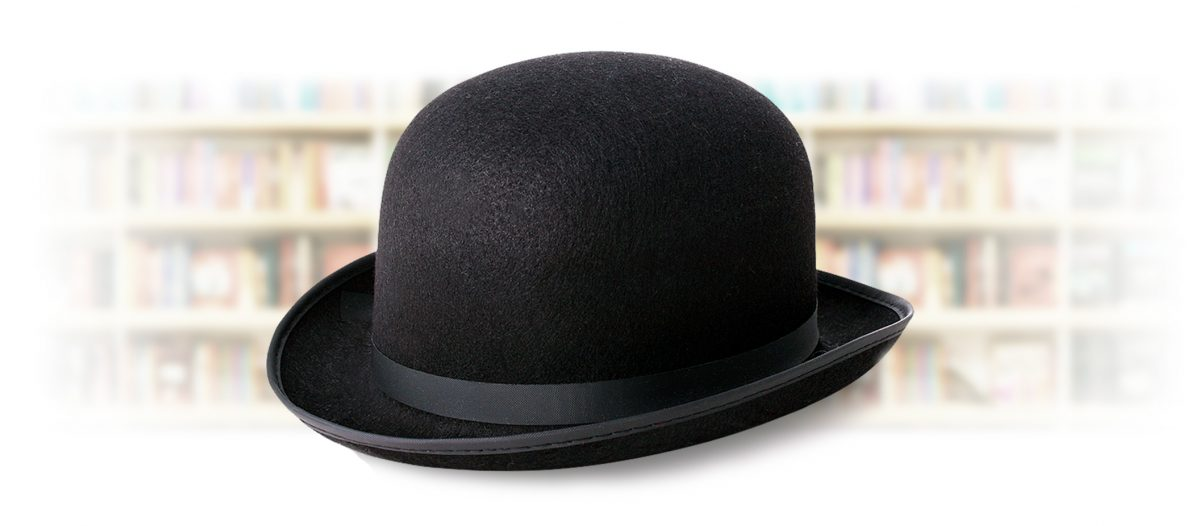 Thanks Spiffing - Author Reviews - Bowler hat in front of book shelves