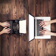 Typewriter and laptop - small